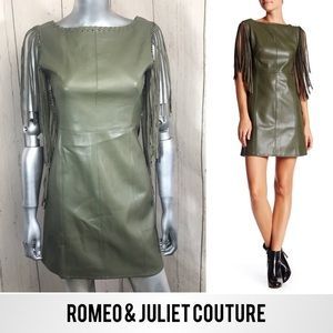 ROMEO&JULIET Olive Fringe Vegan Leather Dress